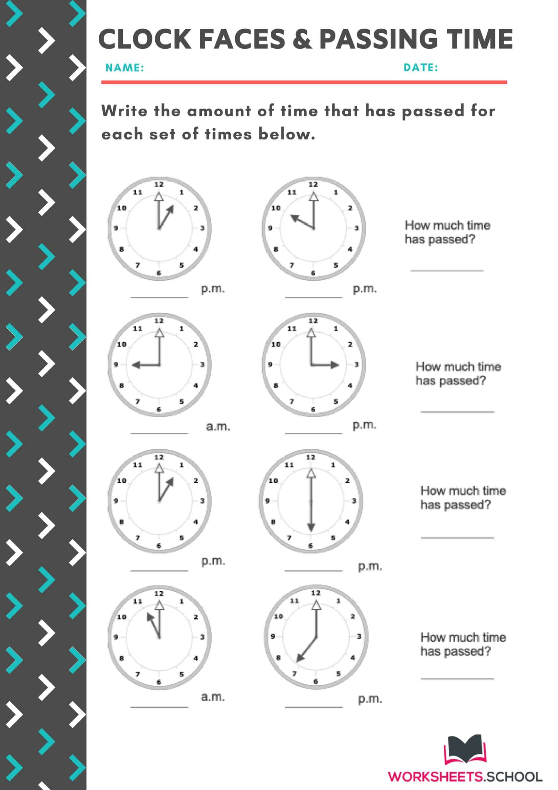 Clock Faces & Passing Time-Worksheet