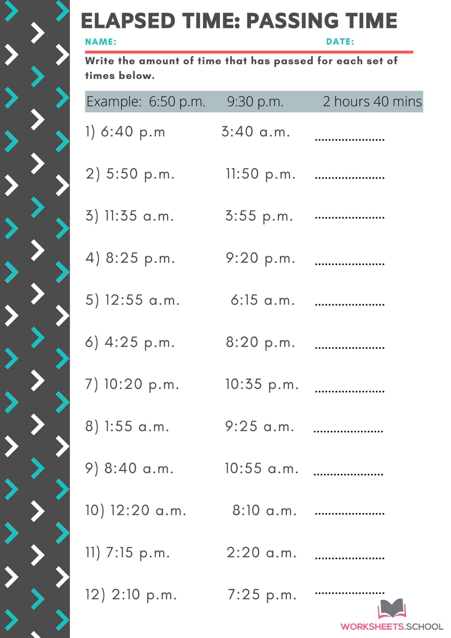 Elapsed Time Worksheet - Passing Time