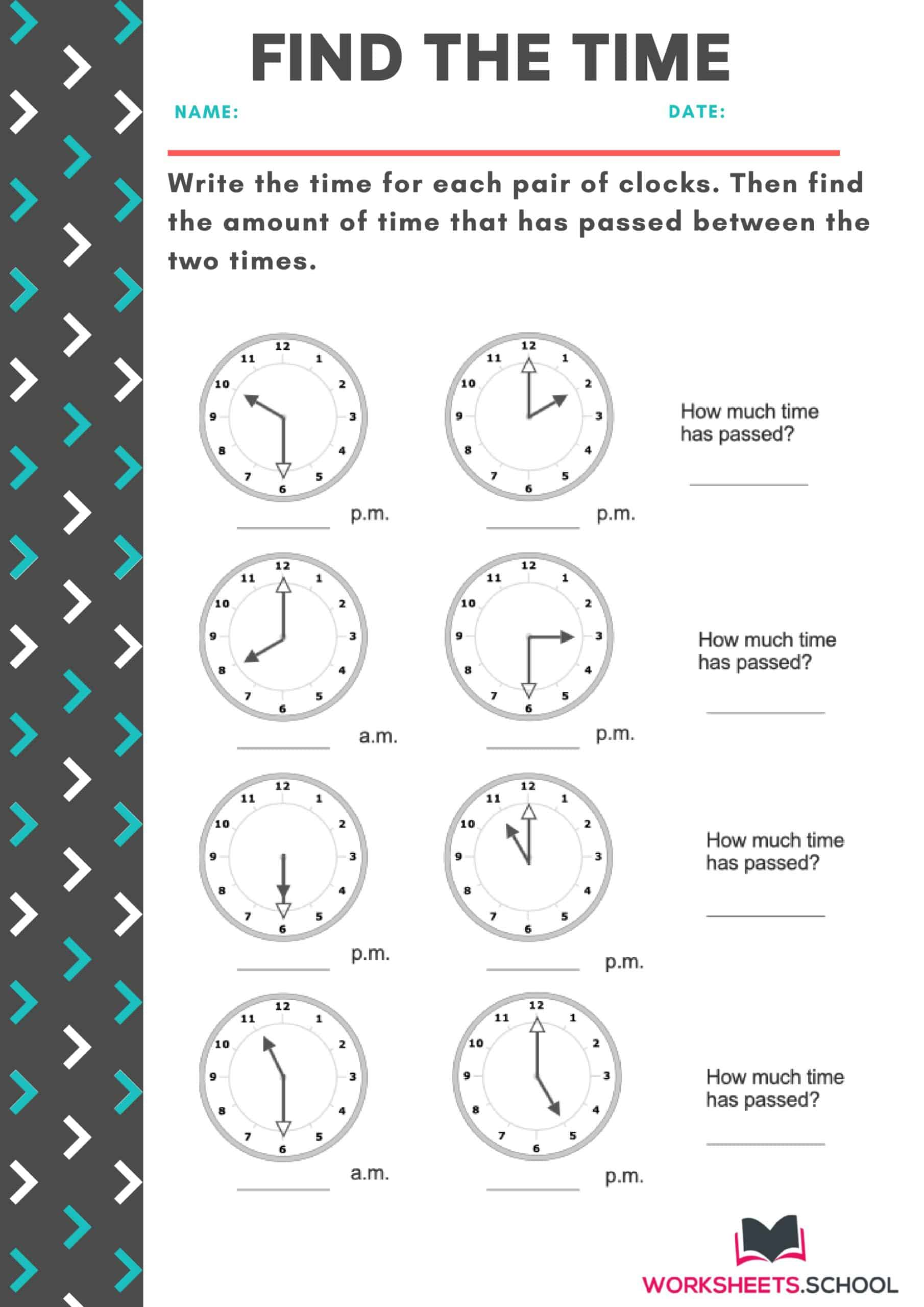 Find the Time on The Clock Face Worksheet