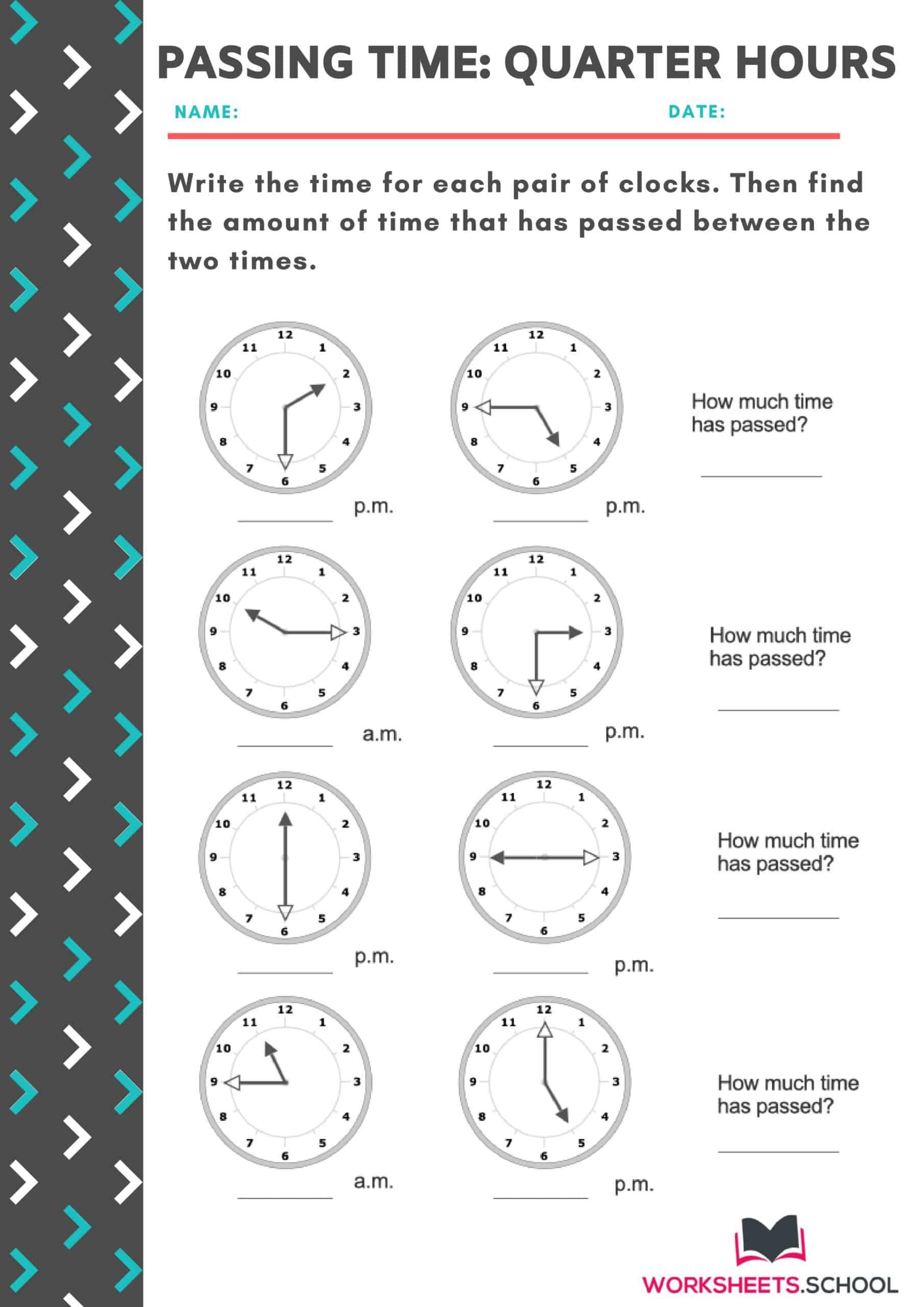 Passing Time Worksheet - Quarter Hours