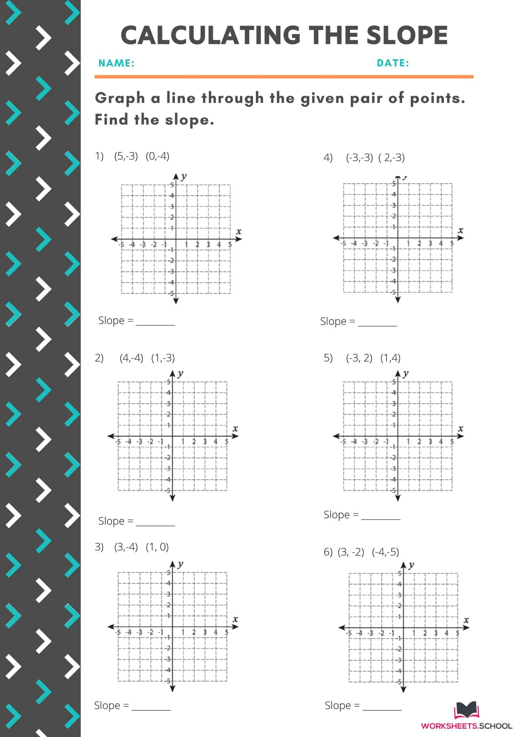 Calculating the Slope Worksheet 3