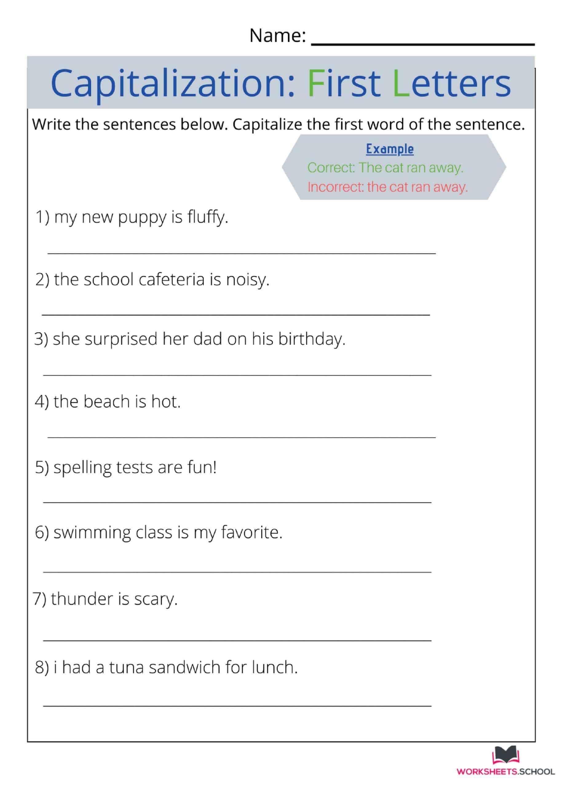 Capitalization Worksheet 10