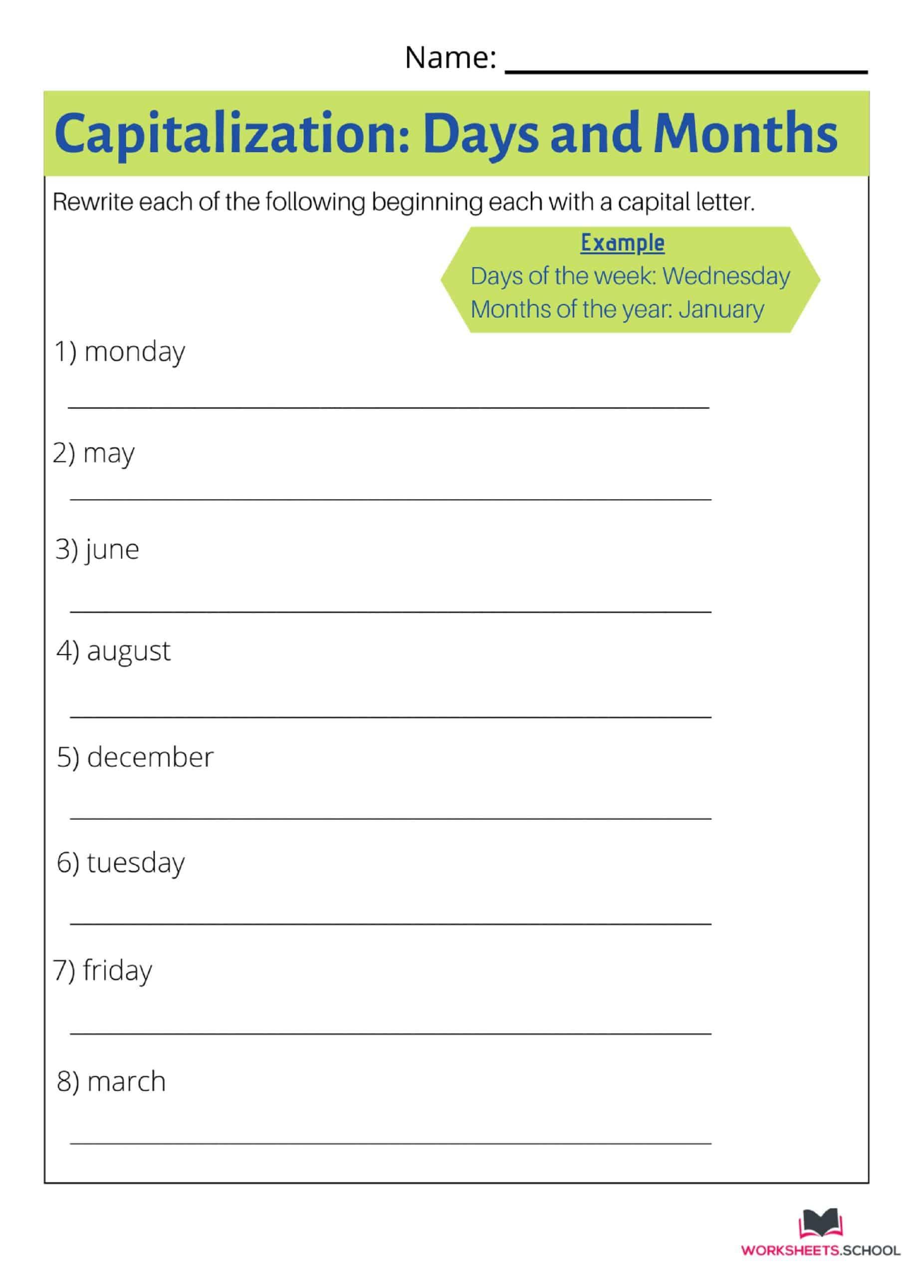 Capitalization Worksheet 2
