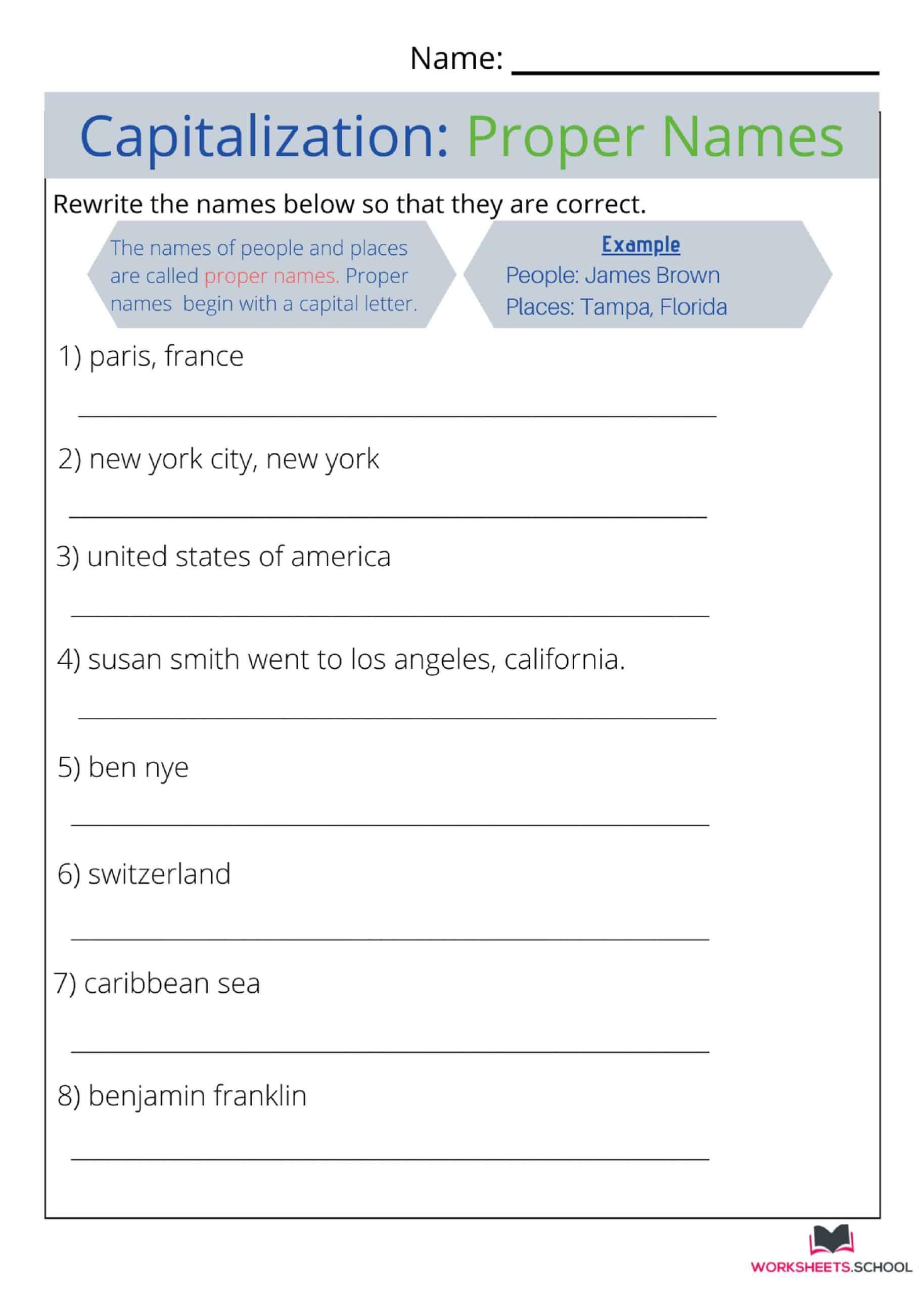 Capitalization Worksheet 4