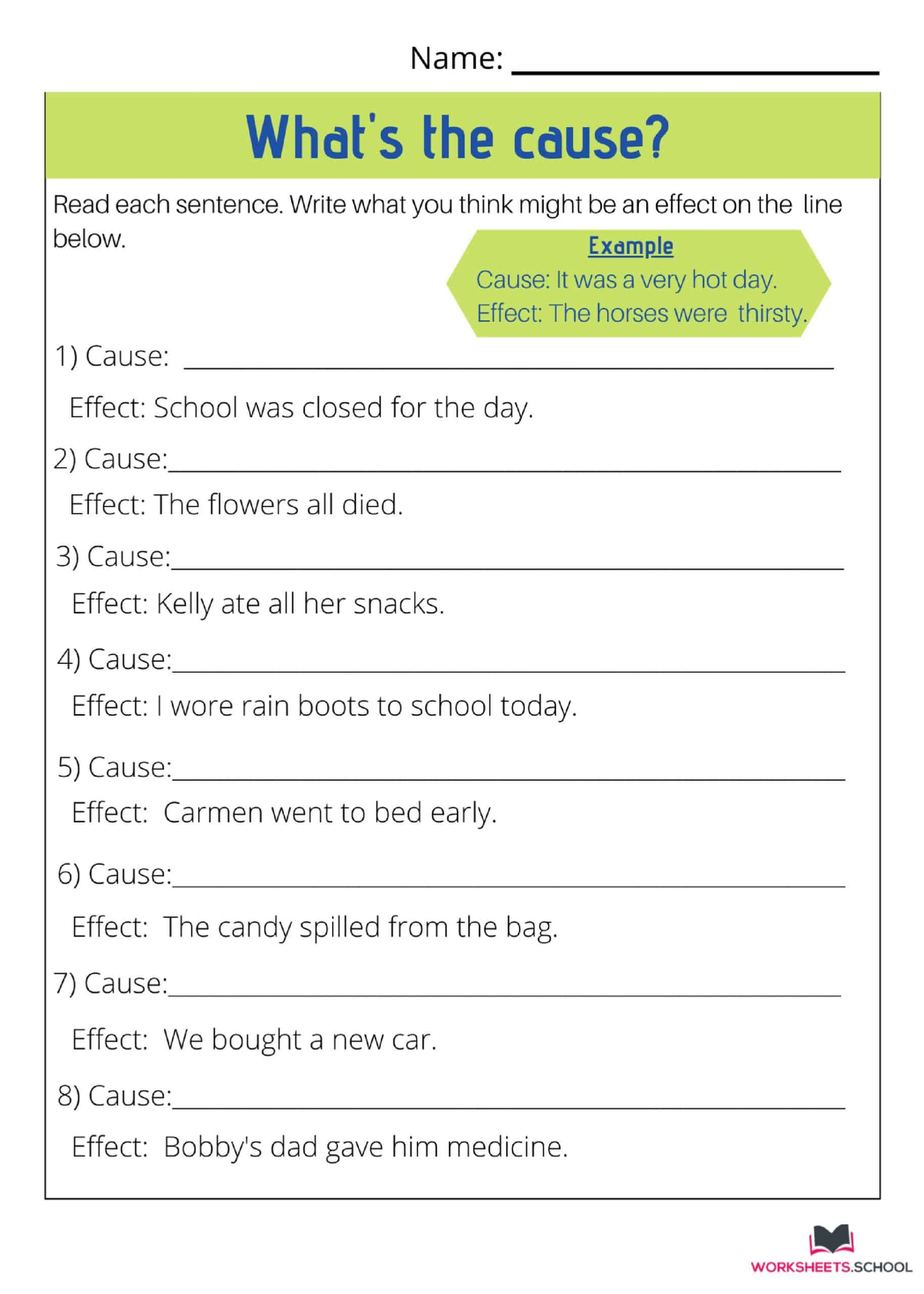 Cause and Effect Worksheet - Whats the Cause 2