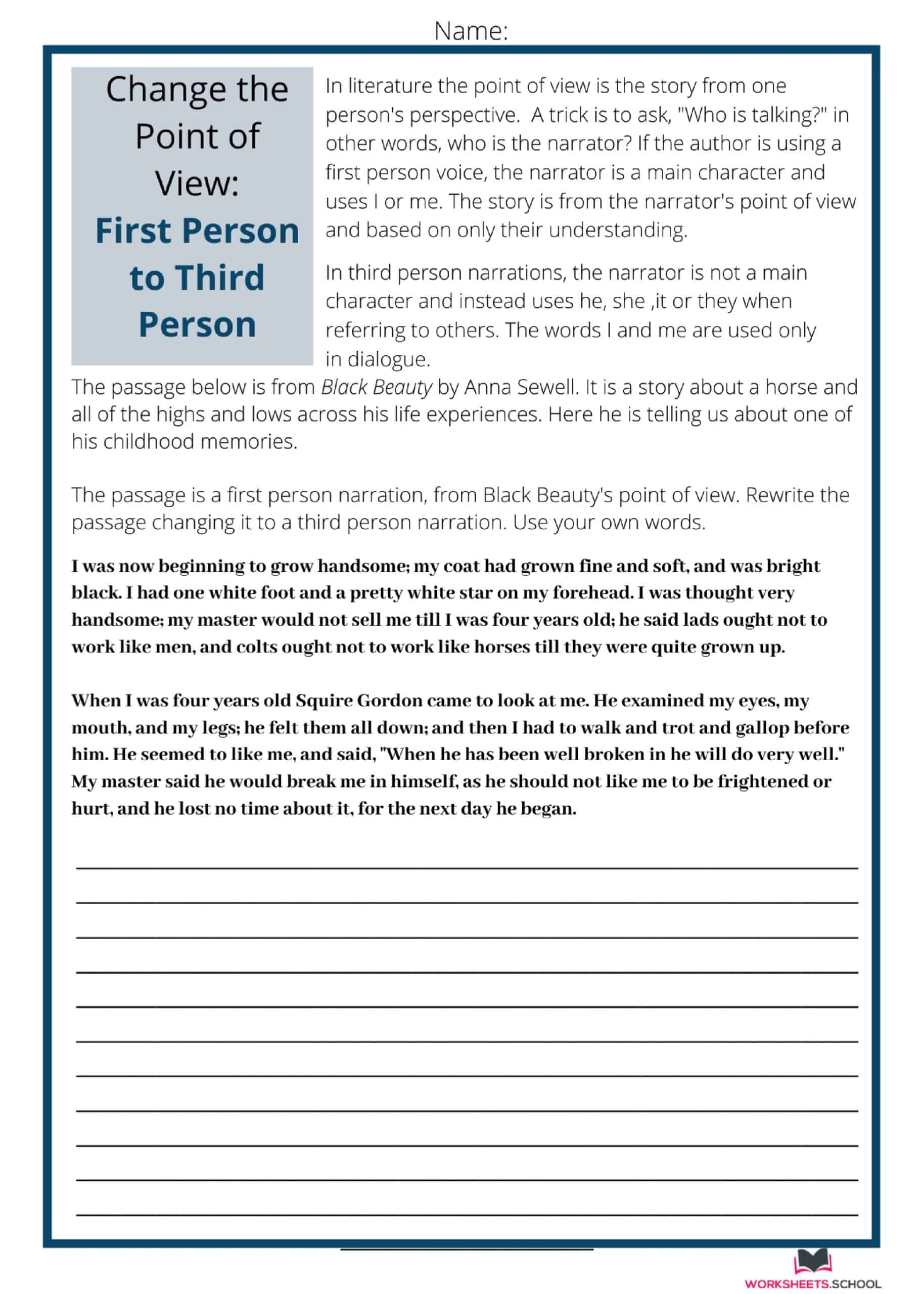 Change the Point of View Worksheet - FP to TP-Black Beauty