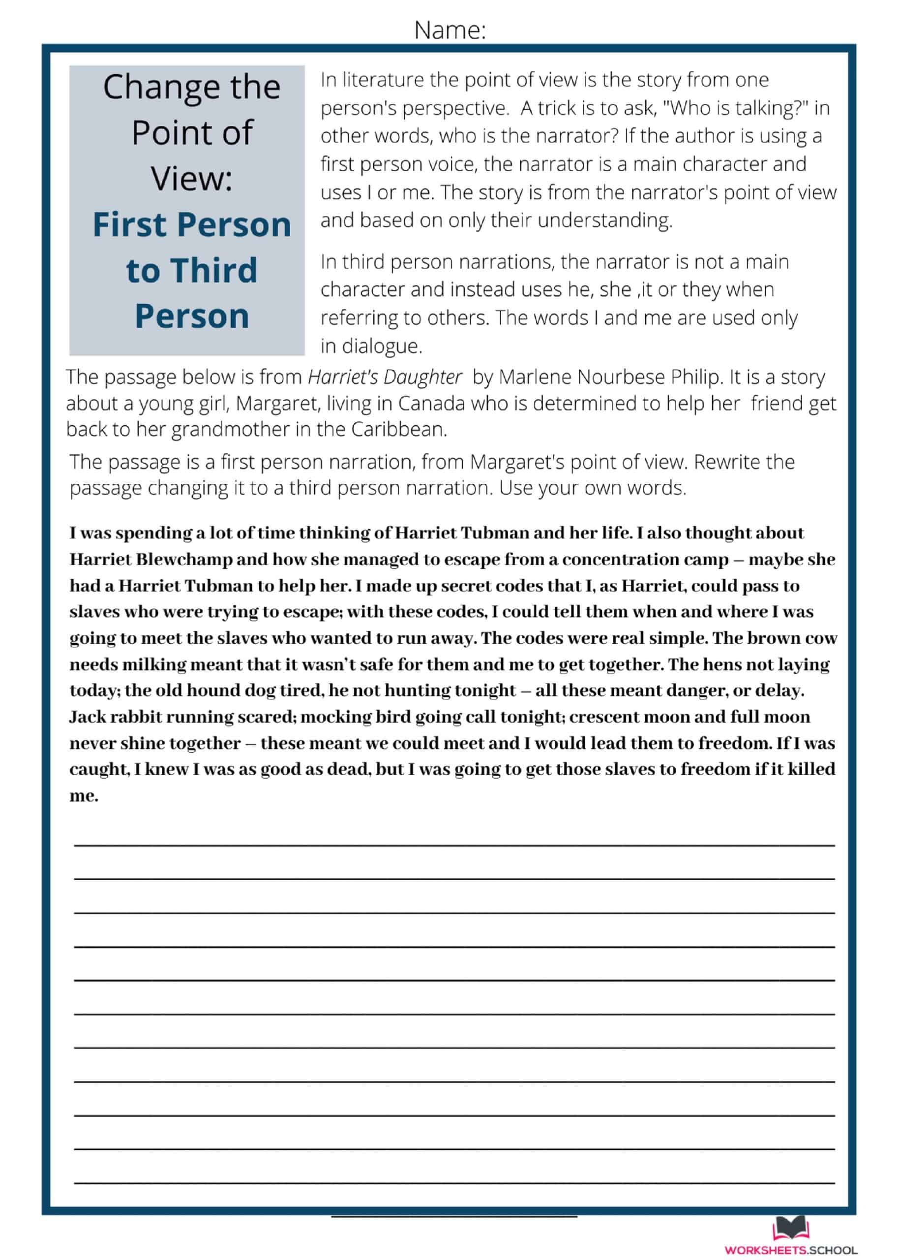 Change the Point of View Worksheet - FP to TP-Harriets Daughter