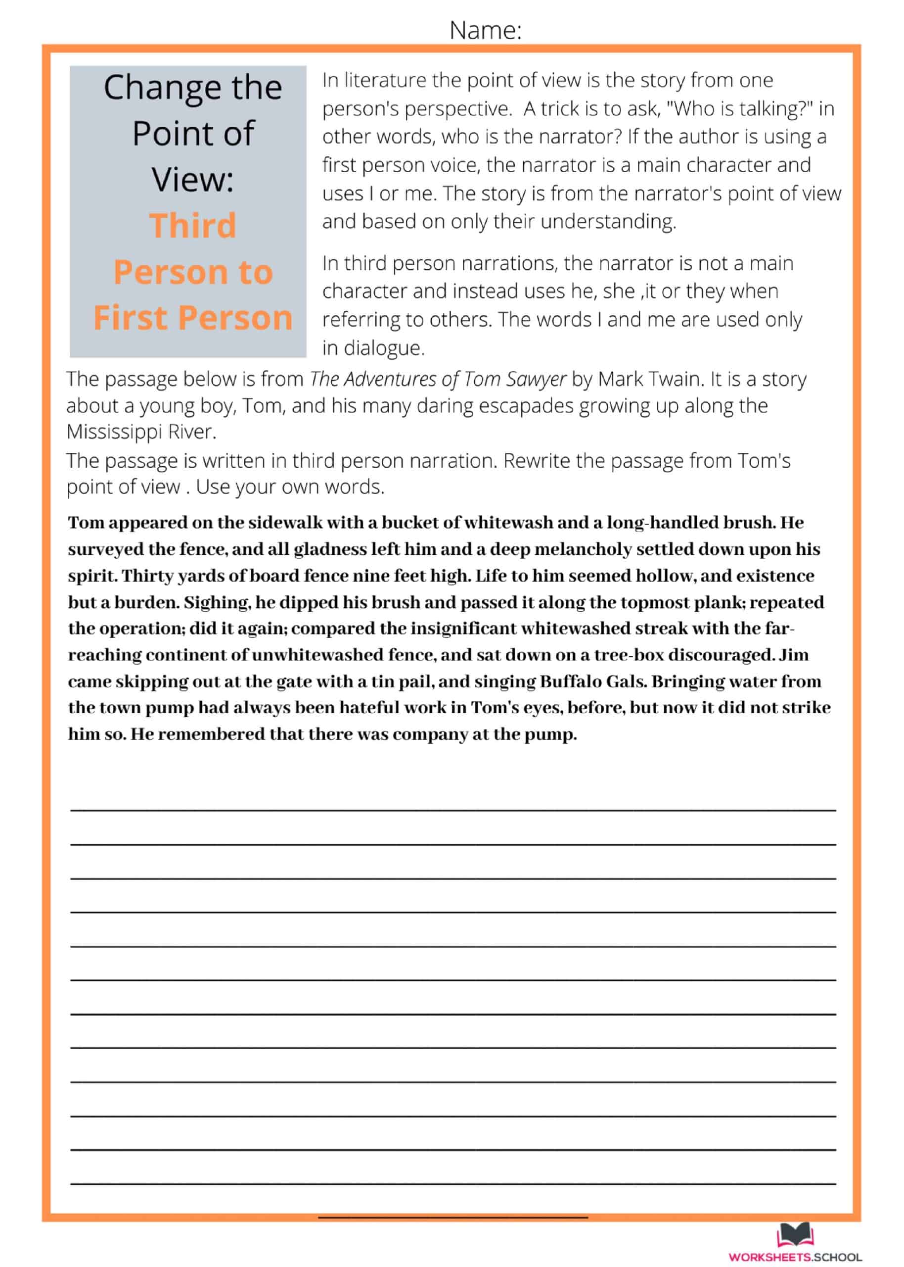 Change the Point of View Worksheet - TP to FP-Tom Sawyer