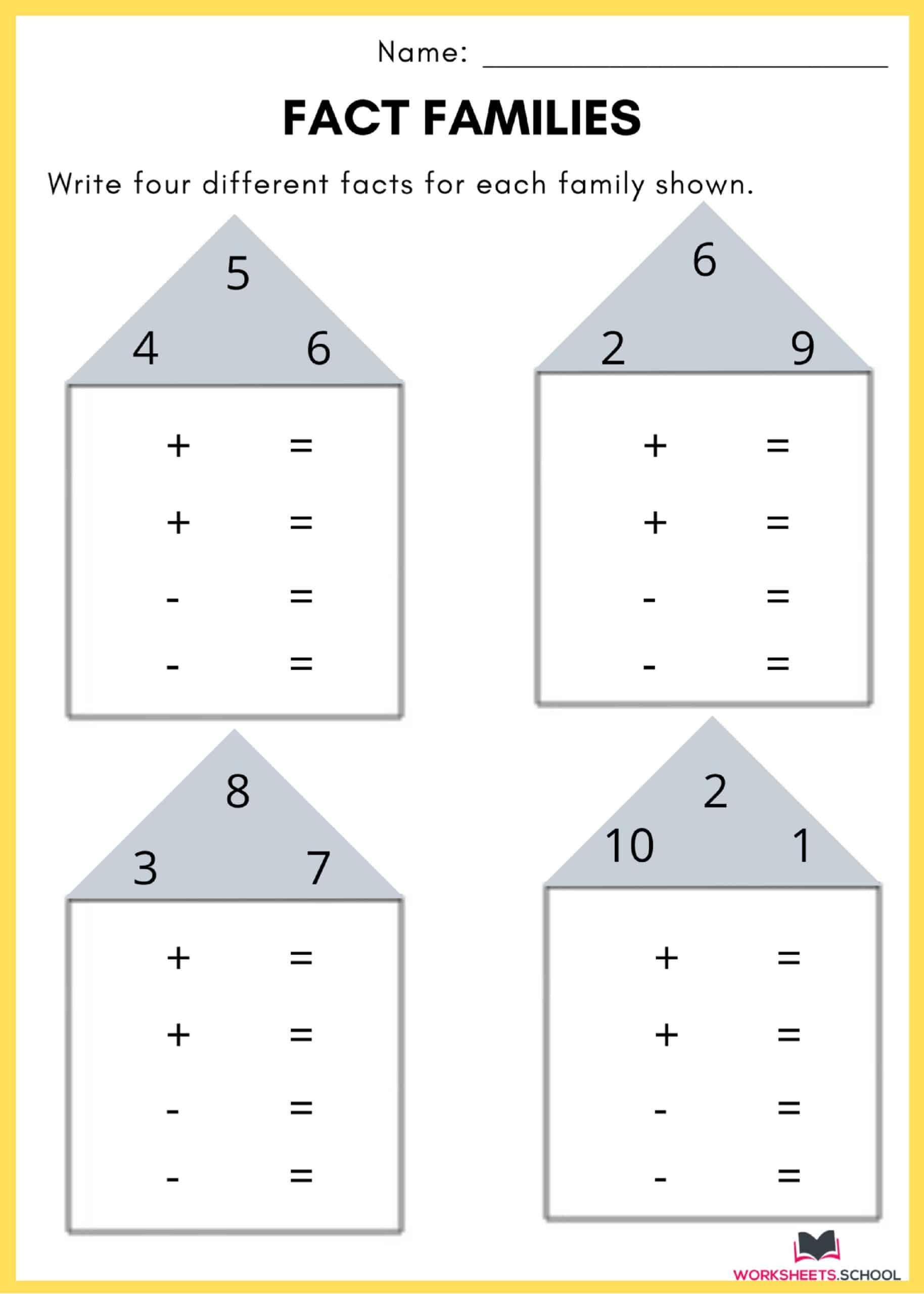 Fact Family Worksheet 3
