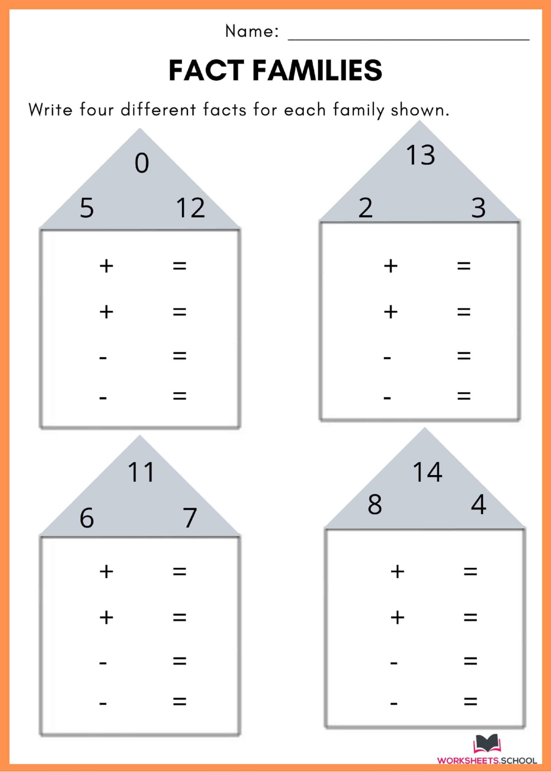 Fact Family Worksheet 4