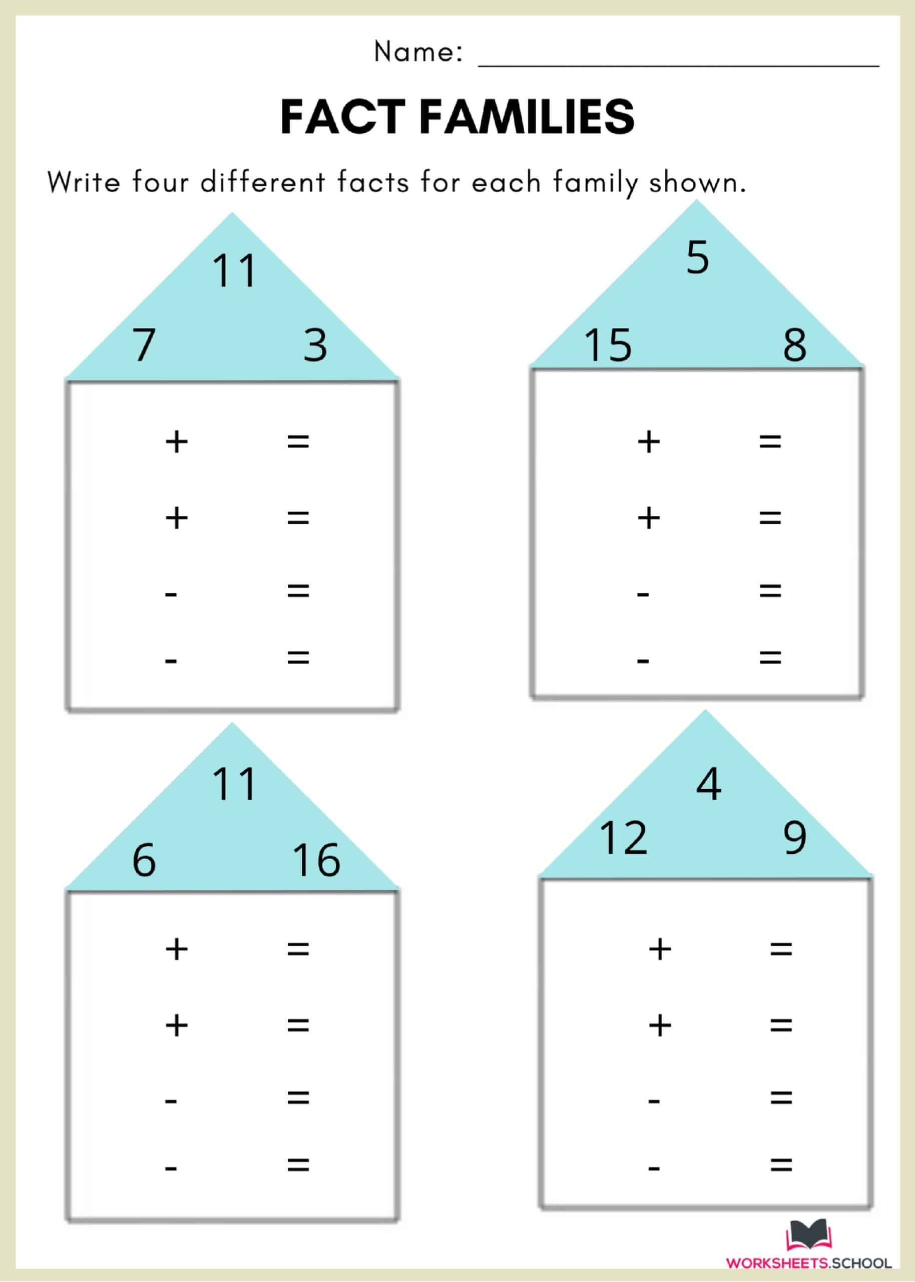 Fact Family Worksheet 5