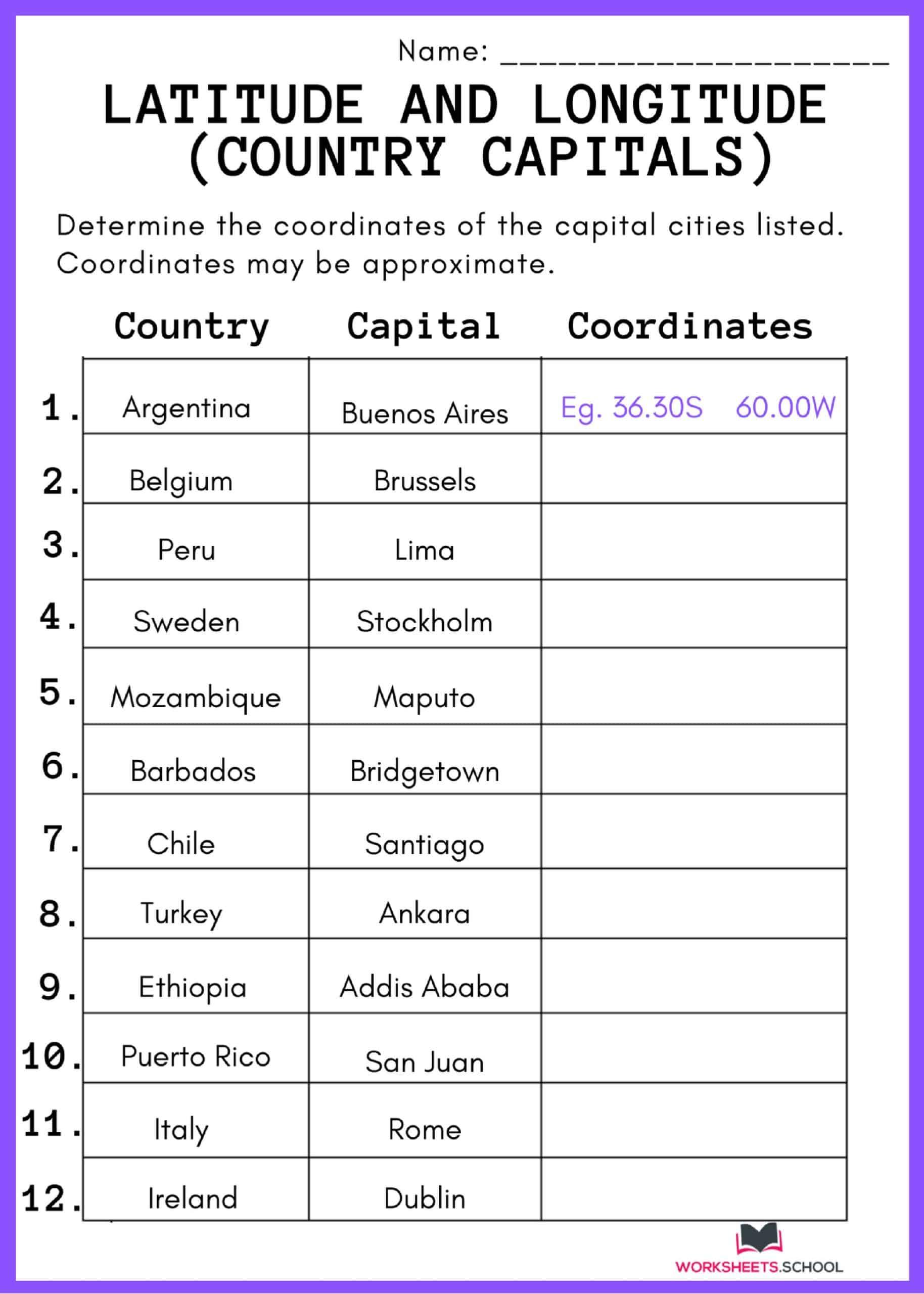 Latitude and Longitude Worksheet - Country Capitals