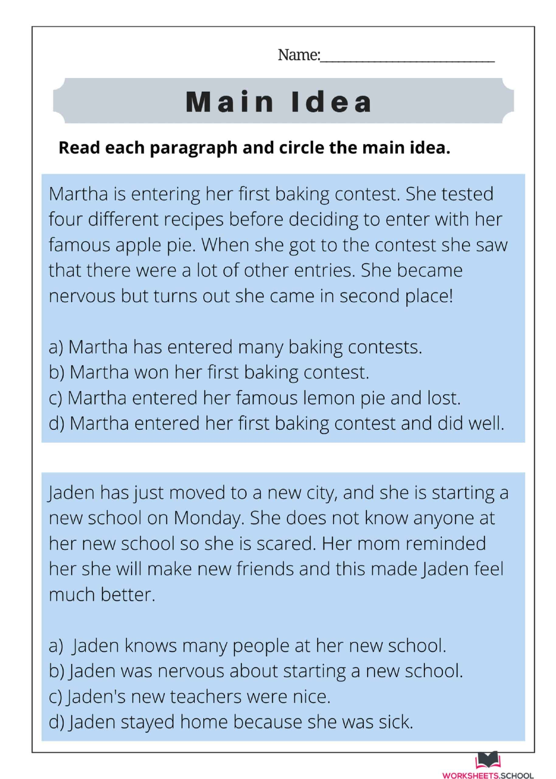 Main Idea Worksheet 06