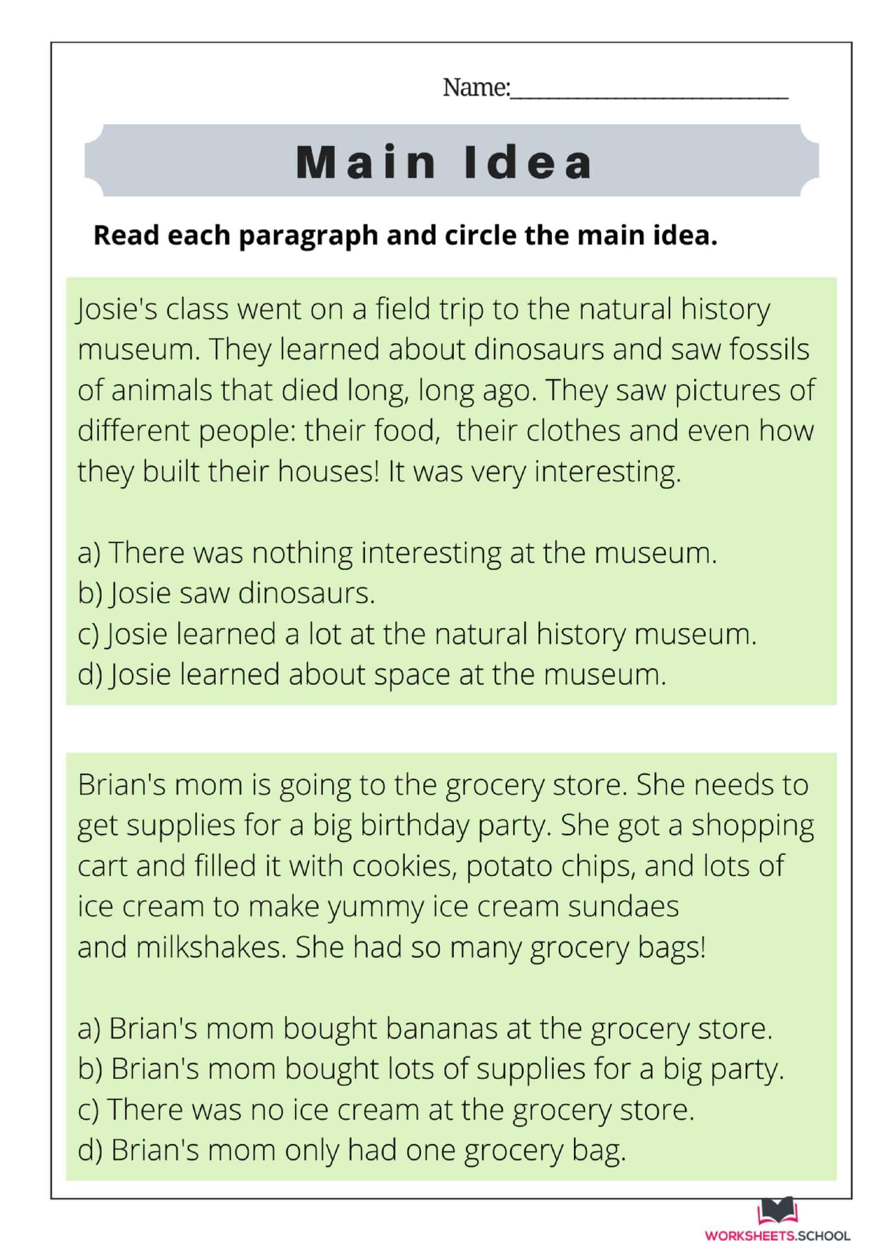Main Idea Worksheet 07