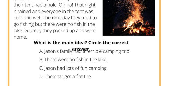 Main Idea Worksheet - The Camping Trip