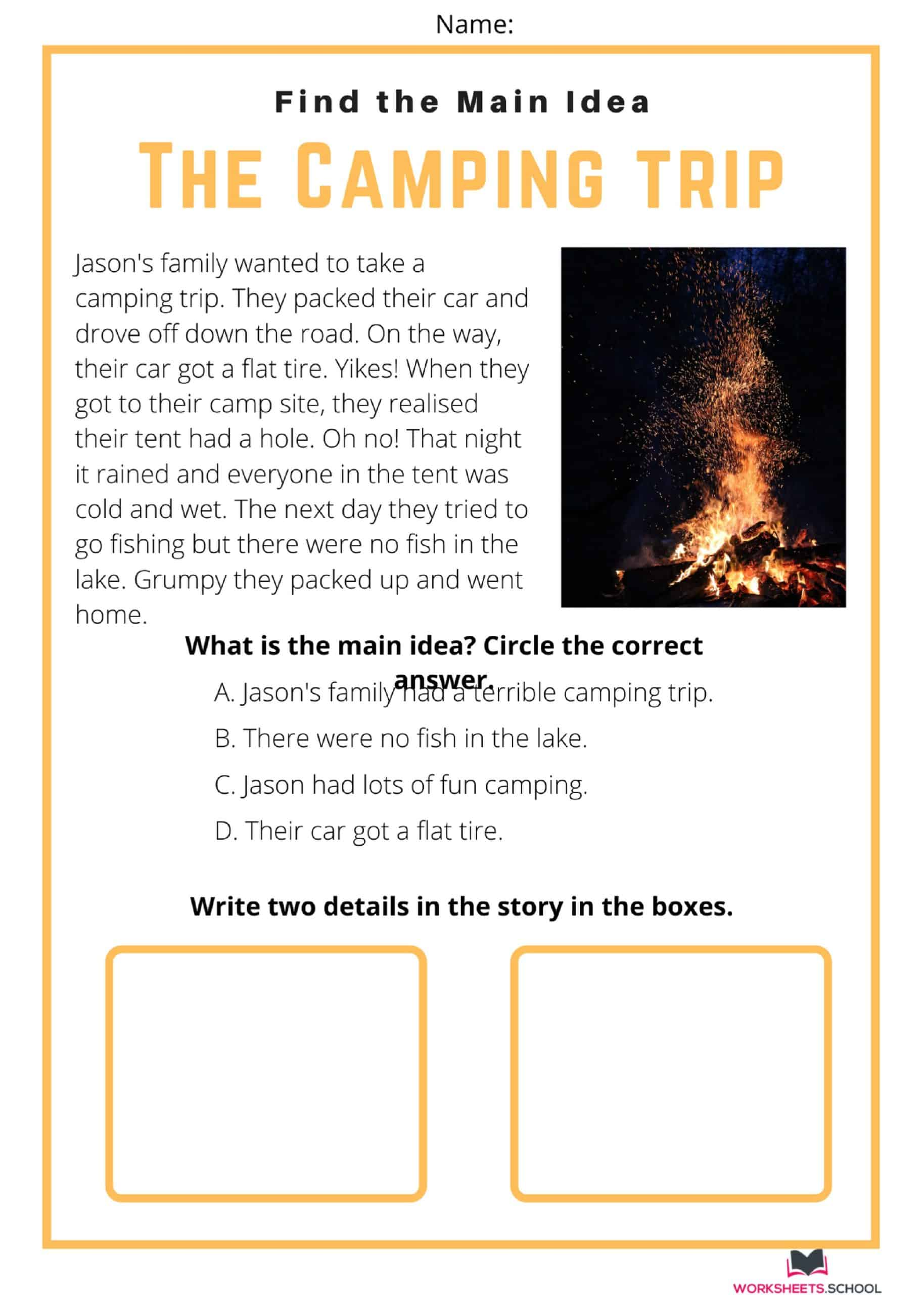 Main Idea Worksheet - The Camping Trip