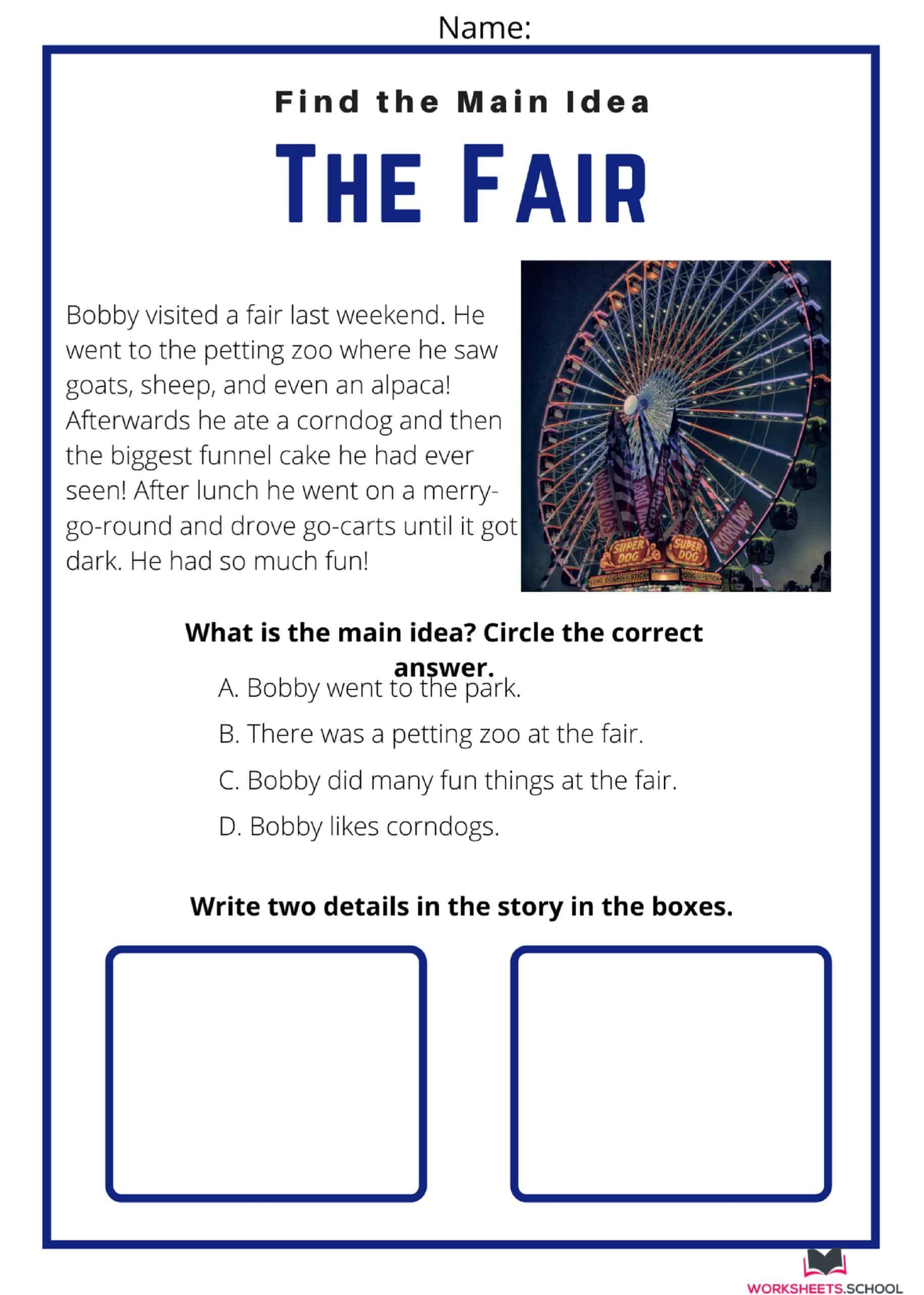 Main Idea Worksheet - The Fair