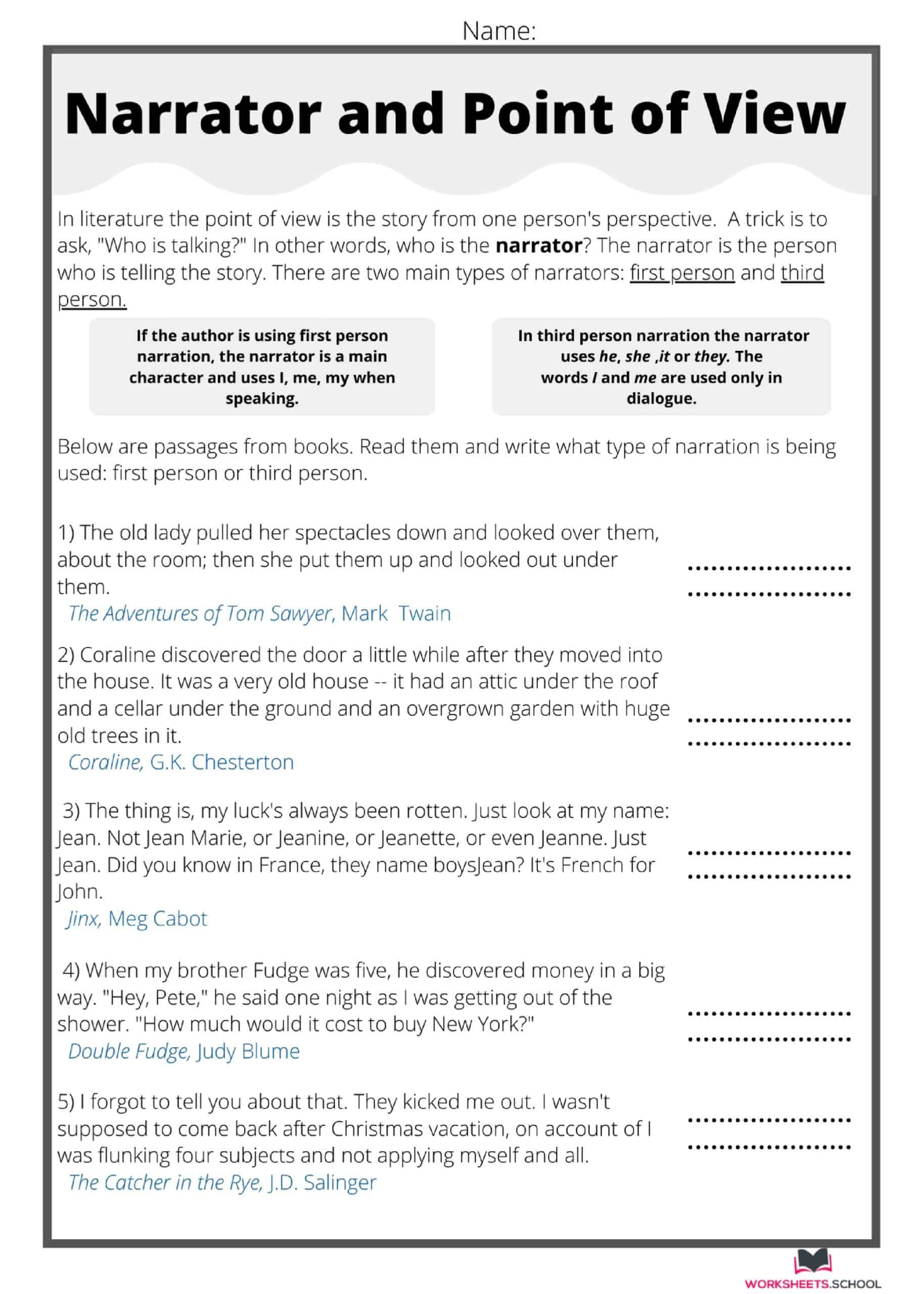 Narrator and Point of View Worksheet 2