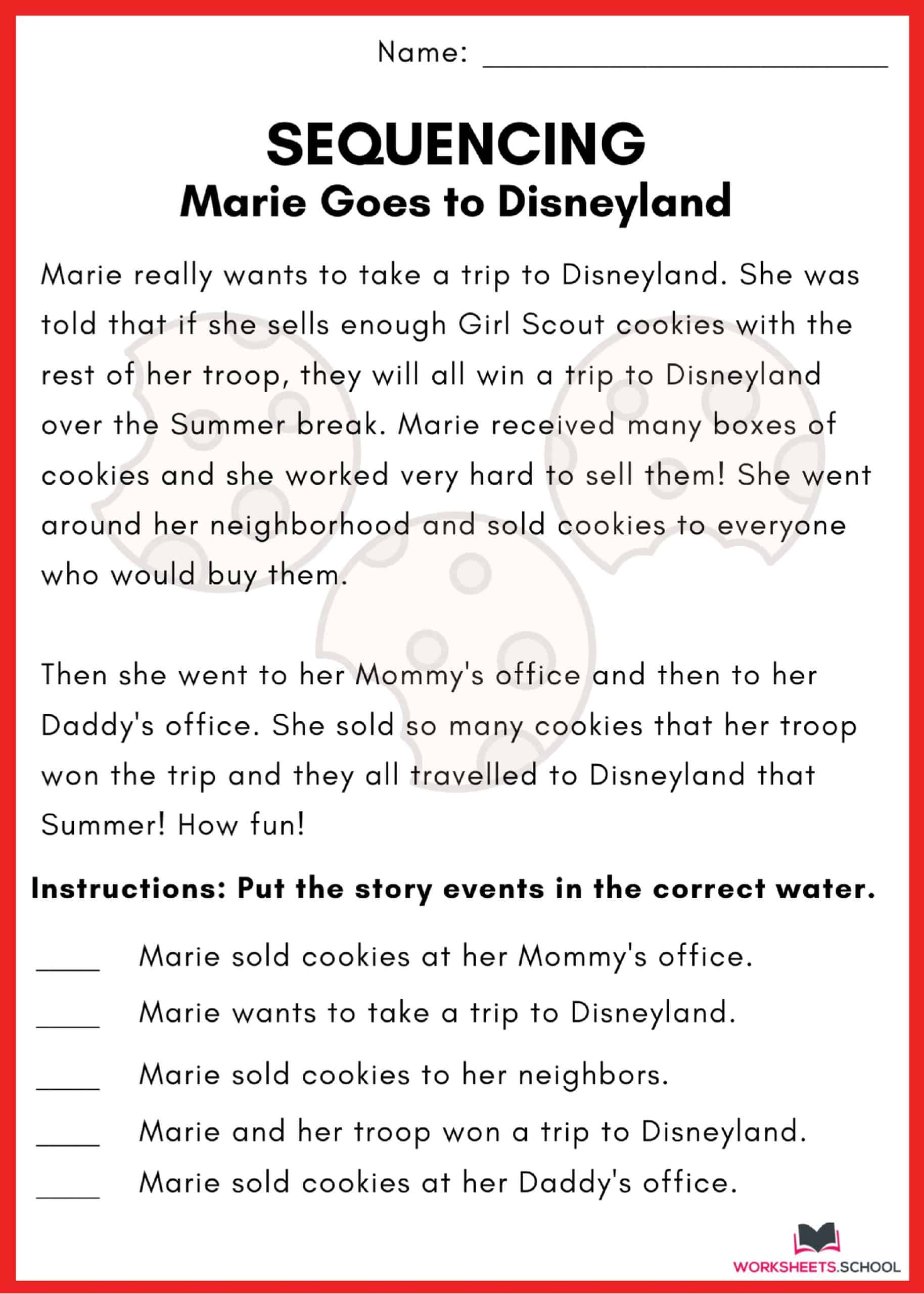 Sequencing Worksheet - Disneyland