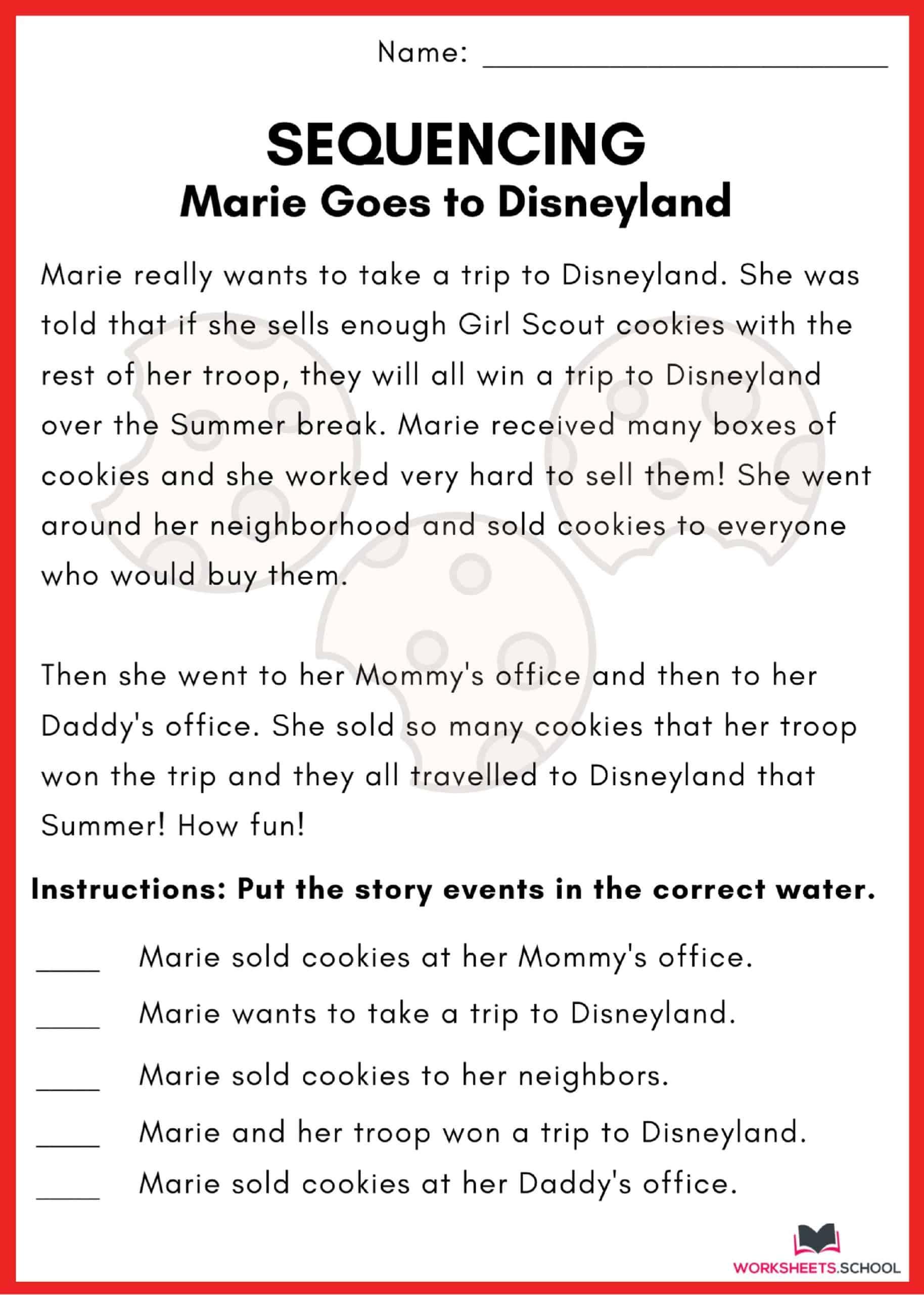 Sequencing Worksheet - Disneyland