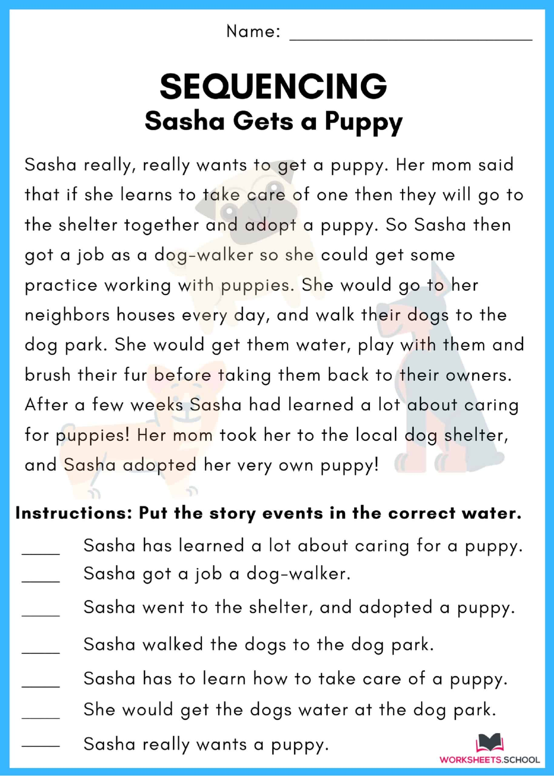 Sequencing Worksheet - Puppy