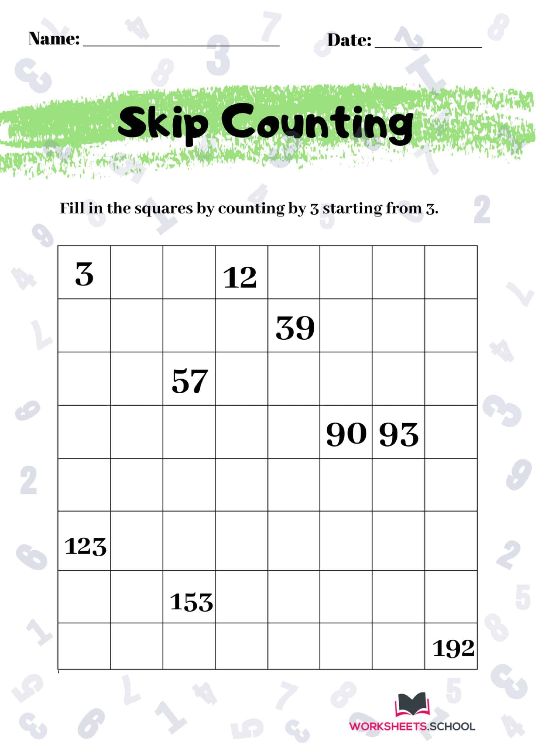 Skip Counting Worksheet by 3