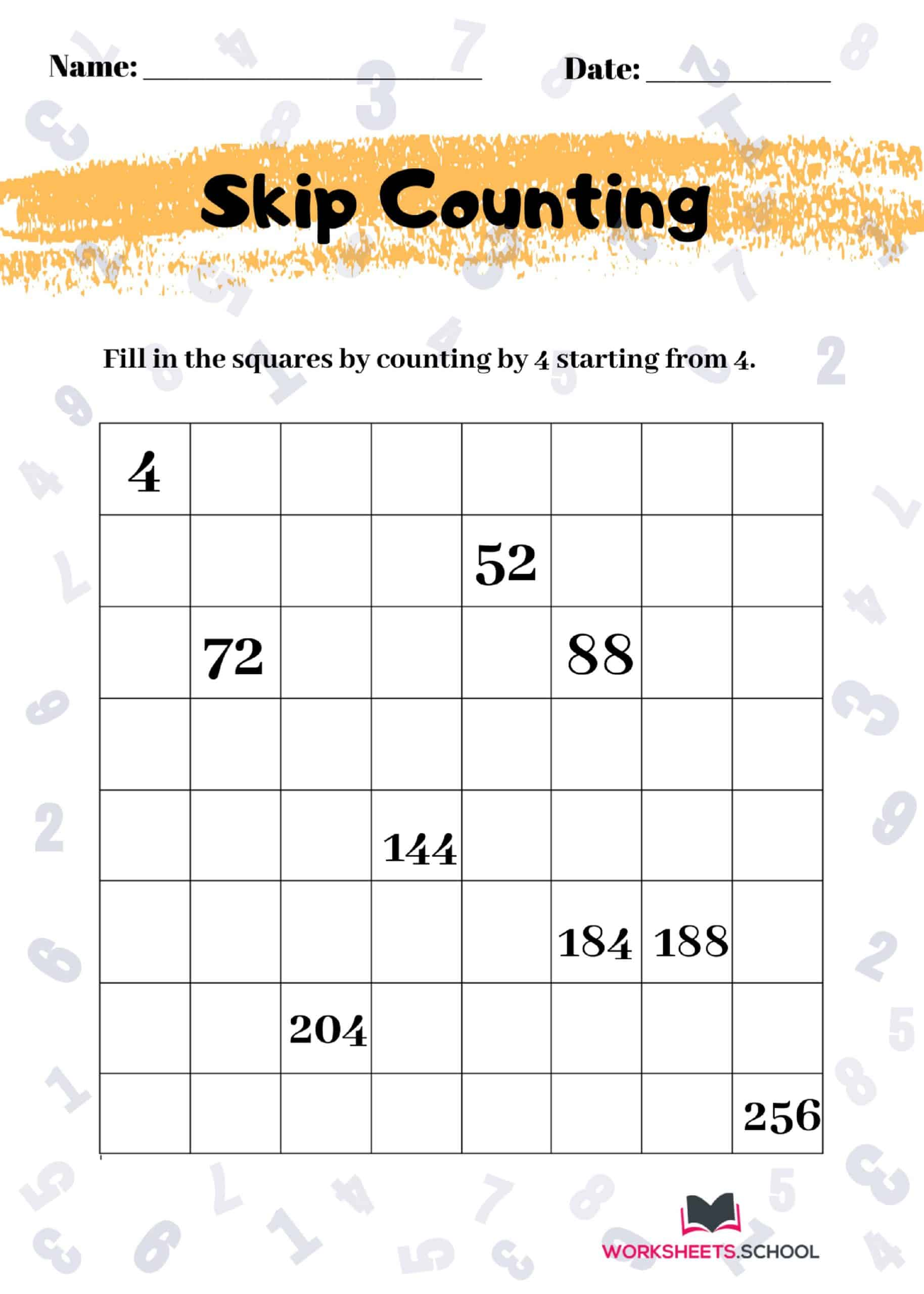 Skip Counting Worksheet by 4