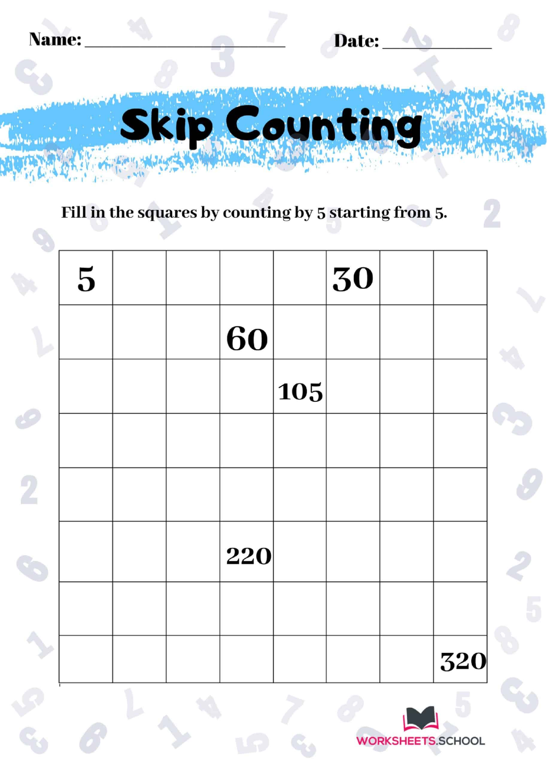 Skip Counting Worksheet by 5