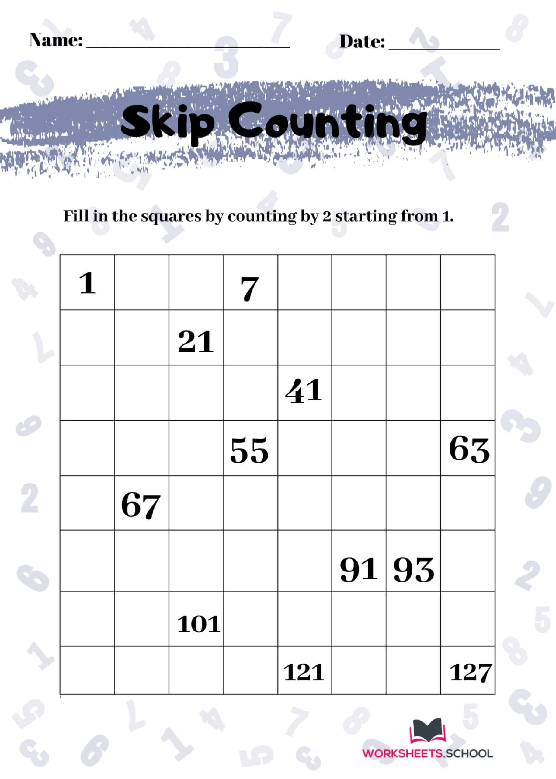 Skip Counting Worksheet by Odd 2